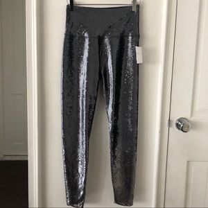Beyond Yoga Crushed Velvet Blue Silver Leggings